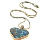 Orgone Energy Pendant - Copper Heart with Lapis Lazuli Gemstone - Heart Necklace - Lapis Lazuli Necklace - Artisan Jewelry