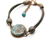Orgone Energy Bracelet - Leather Friendship Bracelet - Copper & Turquoise Gemstone - Celebrity Gift - Artisan Jewelry