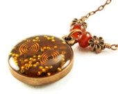 Orgone Energy Small Reversible Pendant in Copper with Carnelian Gemstones - Orgone Jewelry - Artisan Jewelry