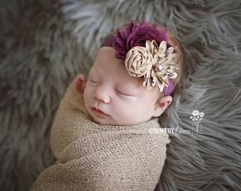 Baby Girl Headband...Trio Headband...Baby Headband...Taupe and Plum Headband...Baby Headband...Photography Prop...