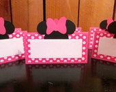 Minnie Mouse Birthday  Pink Polka dot Food tent place cards - set of 6 Minnie Mouse Birthday