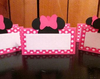 Minnie Mouse Birthday  Pink Polka dot Food tent place cards - set of 6 Minnie Mouse Birthday