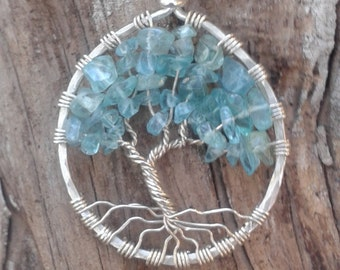 Pale Apatite and Sterling Silver Tree of Life Pendant  MADE TO ORDER