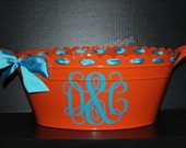 Personalized Scalloped Oval Metal Tub/Ice Bucket - Party Beverage Tub - Assorted Colors Available