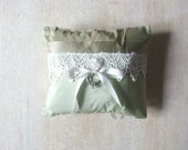 Ring Bearer Pillow Silk, Lace, and Crystals in Pistachio and Olive