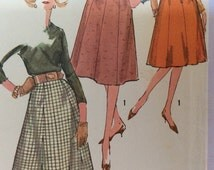 """Simplicity 3676 vintage womens skirt pattern, small waist 25"""" 1960s flared skirts with waistband and zipper, 8 gored skirt"""