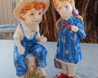 Boy and Girl Figurines  Boy in Hat Figurine  Girl in Red Shoes Figurine