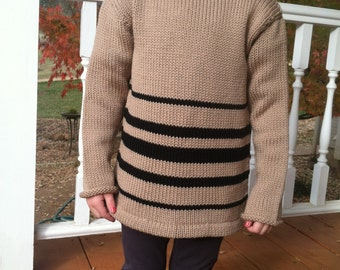 Wool sweater biege with black strips