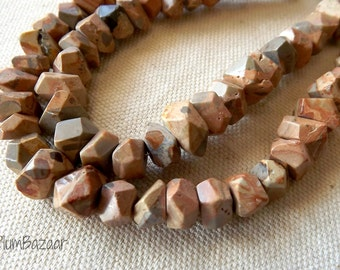 African map jasper beads, 8 inch strand of faceted nuggets, semi precious stone