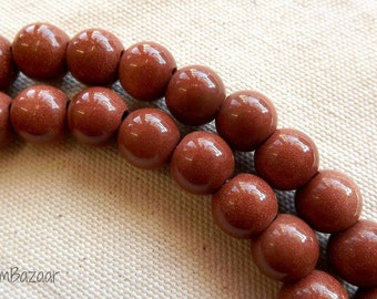 Large hole goldstone beads, 12mm round with 4mm hole, TWO 8 inch strands, perfect for leather cord bracelets