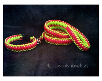 Custom Paracord Collar and Leash (your choice of 2 colors)