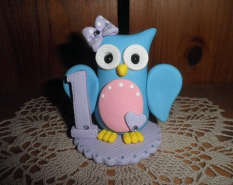 Polymer Clay Owl - Personalized Baby Girl's First Birthday Owl Cake Topper/Keepsake/Gift