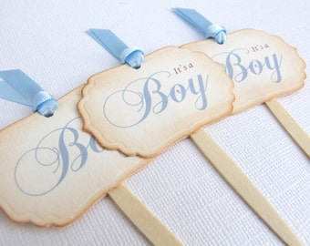It's a Boy Cupcake Toppers, Baby Boy Cupcake Toppers, Baby Shower Cupcake Toppers, Blue Cake Toppers, Baby Boy, Vintage Style, Set of 10