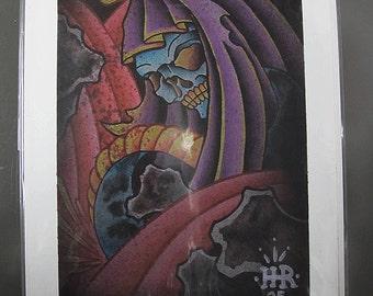 """Original Grim Reaper Snake Tattoo Watercolor Print 7.5"""" x 11"""""""