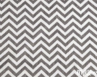 Minky fabric by the yard- mini chevron print minky fabric charcoal grey and snow white- chevron cuddle one yard