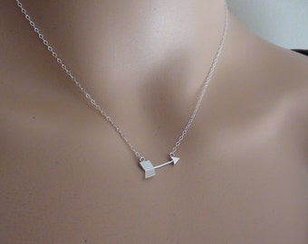 10% Off-- Arrow Connector Necklace - Sterling Silver Necklace- simple, modern necklace