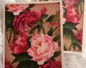 Note Cards (4) ~ Shades of Pink Watercolor Roses Shimmery Note Cards with Envelopes, Victorian Style