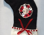 Gothic Wreath with Skulls Spider Hand Knitted Christmas Stocking Xmas Decoration