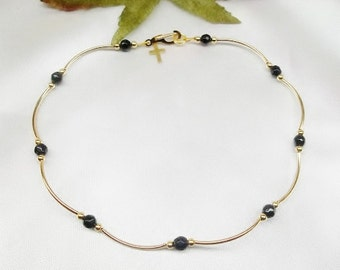 14k Gold Anklet Black Onyx Ankle Bracelet Cross Anklet Gold Filled Anklet Buyany3+Get1 Free