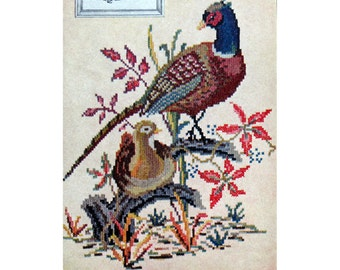 Pheasants Needlework, Kaumagraph Transfer for Embroidery, 1940s Mccall Pattern , Old Kaumagraph Transfer, McCall 1291, Wildlife Embroidery