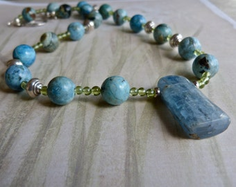 Spring Green Peridot, Robin's Egg Blue African Opal Necklace Earrings and Blue Kyanite Pendant Artisan Jewelry