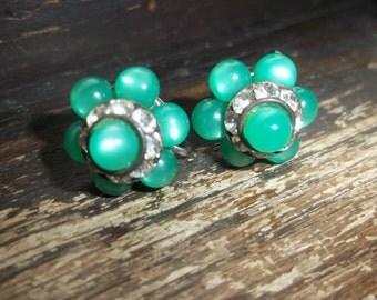 danty green glass beads and rhinestone screw back earrings