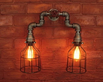 Industrial Lighting Pipe w/ Cages, Wall sconce art, Steampunk Bathroom vanity light - Wall sconce light fixture, industiral black pipe light