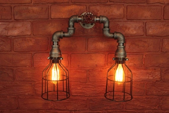Luxury Industrial Vanity Lamp  Bathroom Light  Iron Pipe Fixture  Vanity