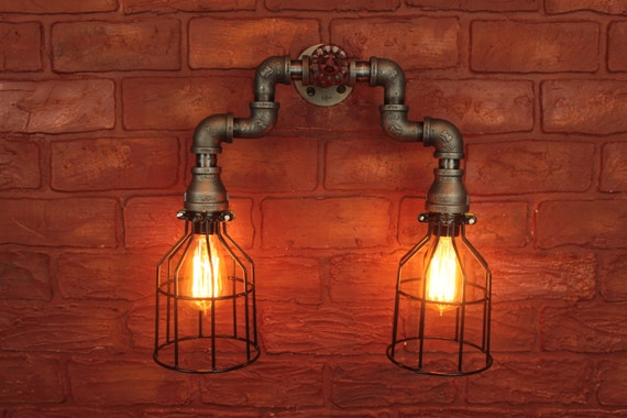 Industrial Lighting Pipe W Cages Wall Sconce Art Steampunk