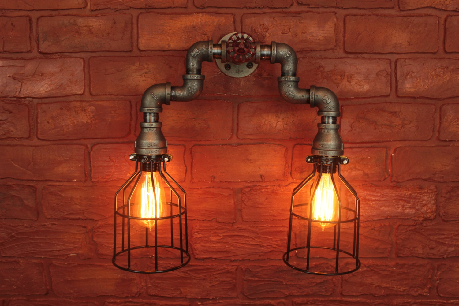 Pipe Cages Lighting Wall Art Steampunk By Hanormanor On Etsy