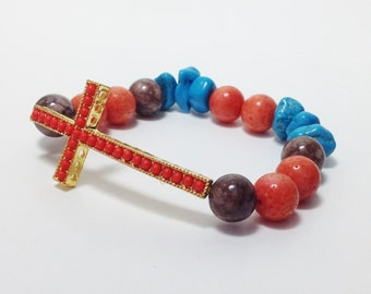 Coral Sideways Cross Stretch Beaded Bracelet With Turquoise Coral And Brown