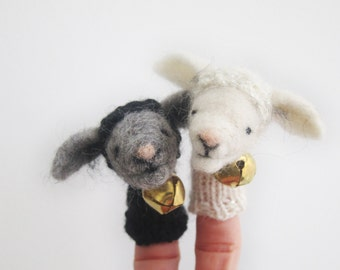 Lamb Finger Puppets, White and black , needle felted, sheep