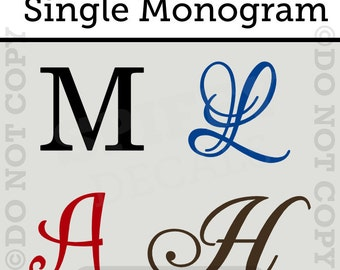 Personalized Single Letter Monogram Vinyl Wall Decal Sticker Decor Family Custom