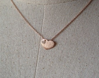 Rose Gold Heart Necklace, Dainty Necklace, Cut Out Heart Necklace