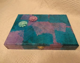 Teal and Purple Cigar Box Jewelry Box