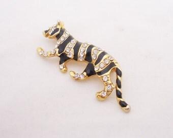Vintage Tiger Brooch, Gold Tone, Black Enamel and Clear Rhinestones Tiger Brooch, Vintage Tiger Pin, UK Seller