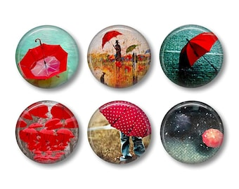 Red Umbrella pinback button badges or fridge magnets