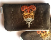 Embroidered Henna Style Makeup Bag, Orange and Brown Zipper Pouch for Keeping Cords and Chargers