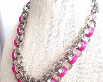 Hot Pink Enamel Chain Necklace Double Stranded
