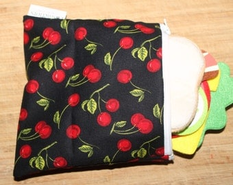 "reusable snack bag, sandwich bag in cherry print. 7"" x6.5"""
