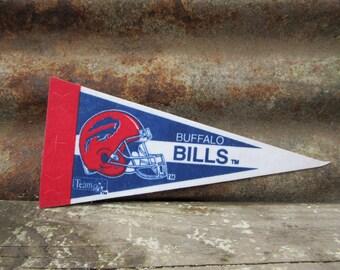 Vintage Football Buffalo Bills NFL Football Team vtg Football Pennant Collectibe Felt Vintage 1990s Era Display Sports Team vtg NFL Pennant