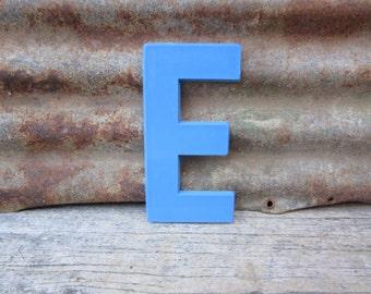 Vintage Letter Sign 8 Inch Letter E Sign Blue Simple Font Plastic Letter Sign Display Marquee Alphabet vtg Letters Wall Art Pop Art Retro