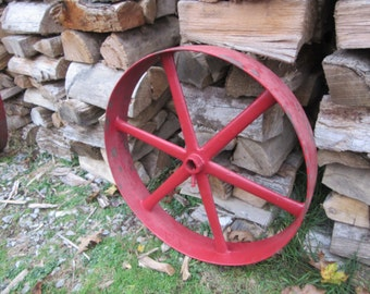 PICK UP ONLY Huge Antique Old Fashioned Farm Wheel Rim Painted Red Big Wheel Large Old Wheels Farming Antique Decor Landscaping Gardening