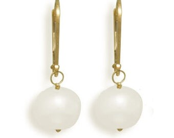 Quality Cultured Freshwater Bridal PEARL Drop Earrings with 14K White or Yellow Gold Lever Backs
