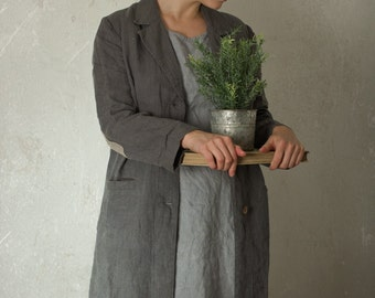 LINEN WORK COAT | with contrasting elbow patches