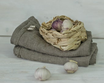 RUSTIC HERRINGBONE tea towels. natural linen