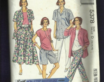 McCalls 5378 Summer Beach Resort Wardrobe Easy Fitting Shirts Pants Shorts & Skirt Size 12..14..16 UNCUT