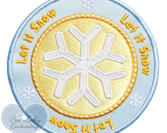 Let It Snow Applique  Embroidered Patch , Sew or Iron On