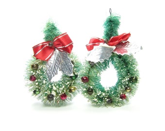 Bottle Brush Wreaths Vintage Christmas Tree Ornaments Decorations with Miniature Bulbs