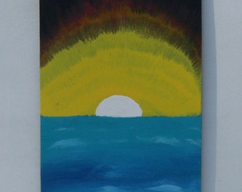 Painting on Wood, Wall Art Sunset Painting, Landscape,  Sculpture, Modern,Space